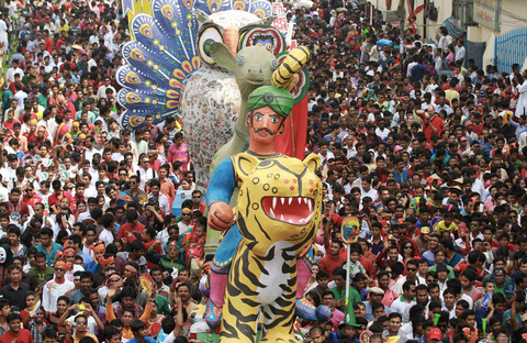 Festivities on the streets of Dhaka