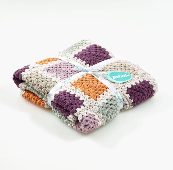 Pebble Organic Soft Purple Granny Square Blanket