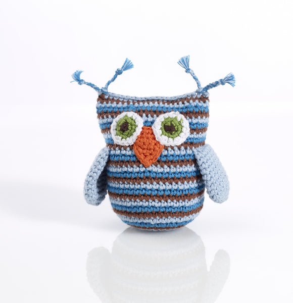 Pebble Blue Stripey Owl Rattle