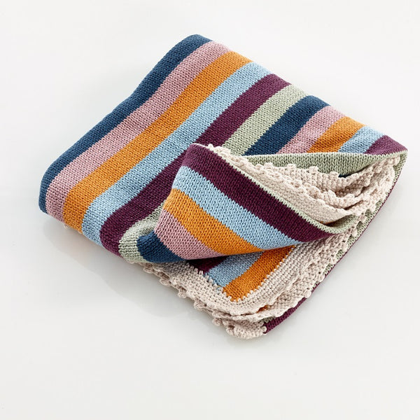 Pebble Crochet Edge Organic Cotton Blanket – Multi Stripe