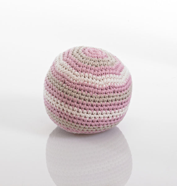 Pebble Organic Cotton Rattle Ball- Dusky Pink