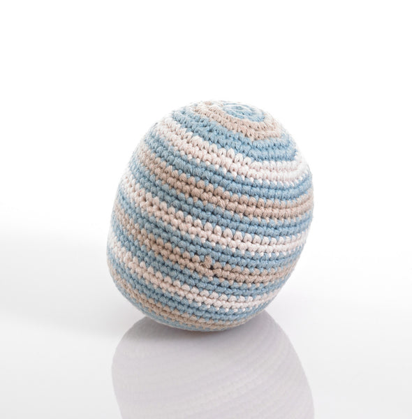 Pebble Organic Cotton Rattle Ball - Duck Egg Blue