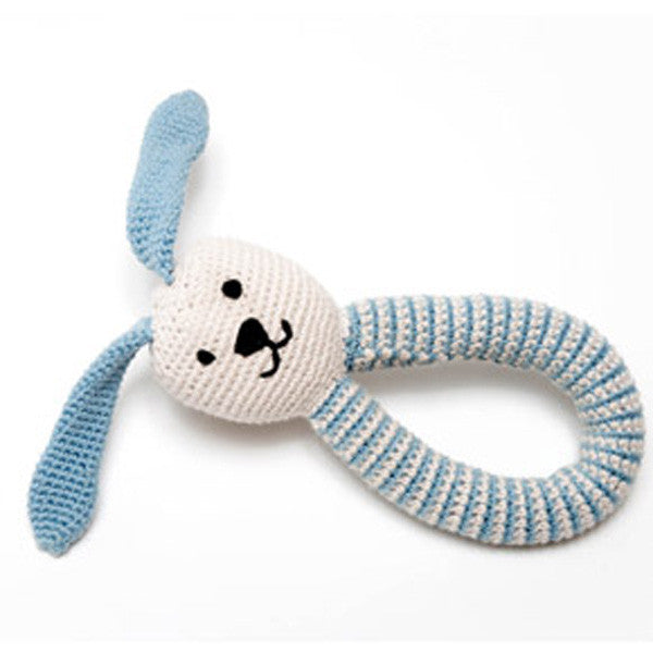 Pebble Bunny Rattle – Duck Egg Blue
