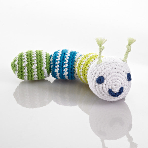 Pebble Caterpillar Rattle – Bright blue