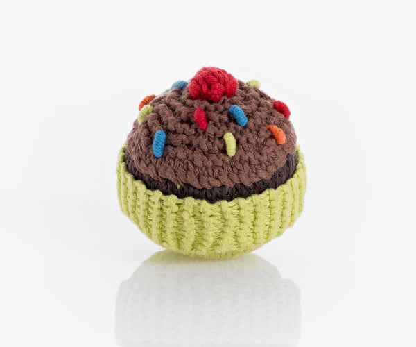 Pebble Cupcake Rattle – Lime with chocolate icing and cherry