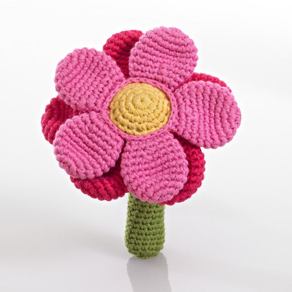 Pebble Flower Rattle – Double pink