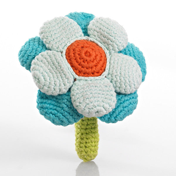 Pebble Flower Rattle – Double turquoise