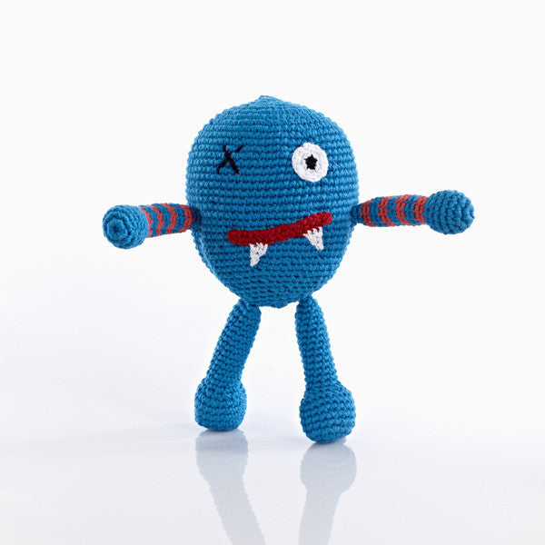 Pebble Chubby Monster Rattle - Scary Blue