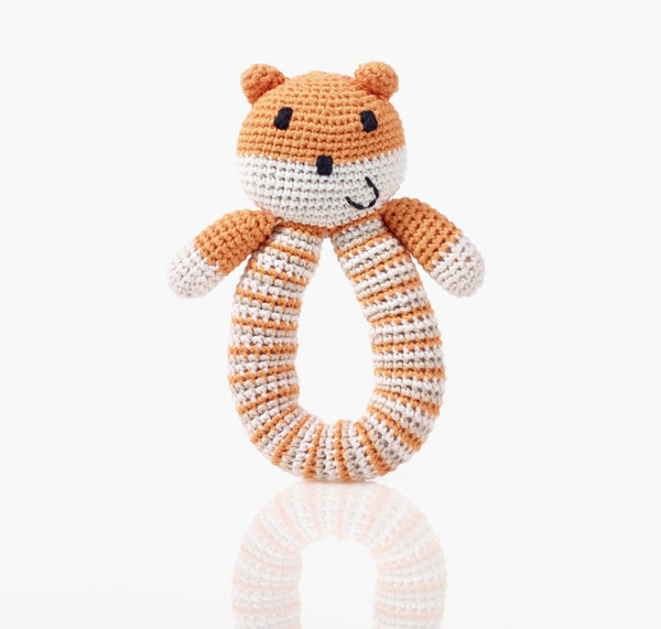 Pebble Organic Orange Bear Rattle