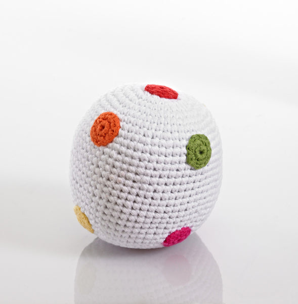 Pebble Crochet White Spotty Rattle Ball