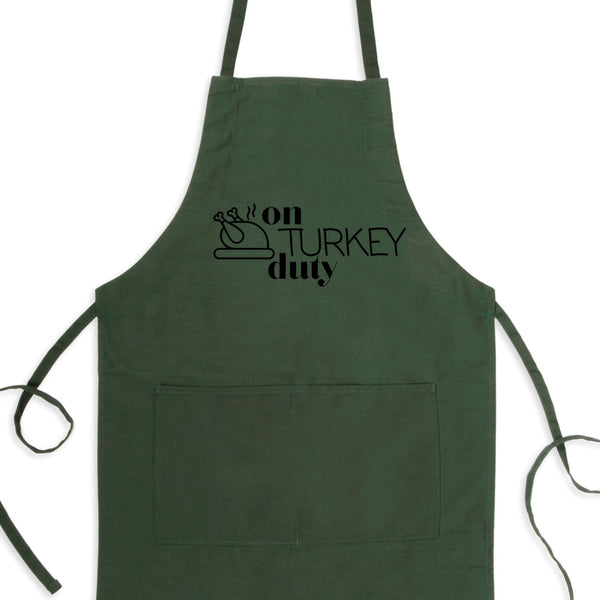On Turkey Duty Bib Apron with Pockets