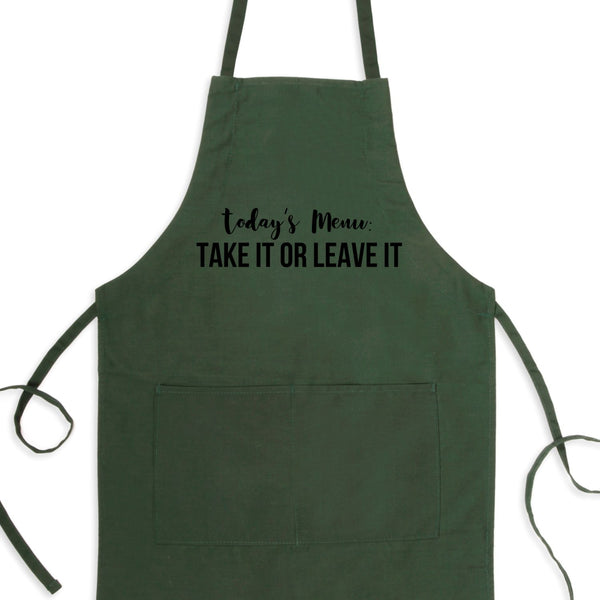 Today's Menu: Take It or Leave It Bib Apron with Pockets