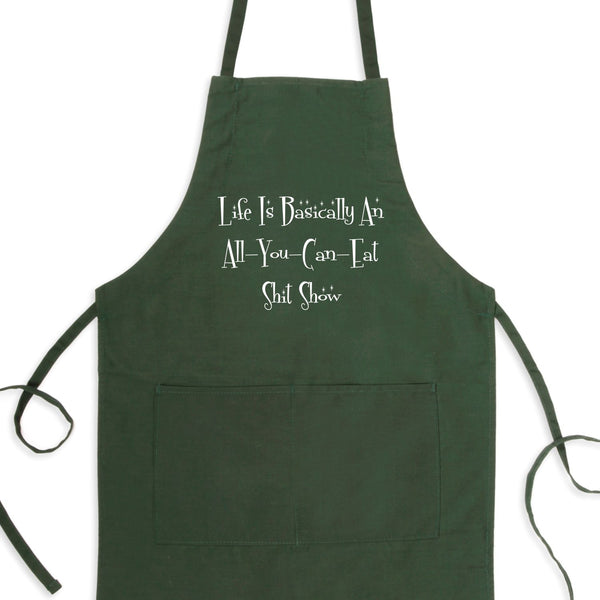 Life Is Basically An All-You-Can-Eat Shit Show Bib Apron with Pockets