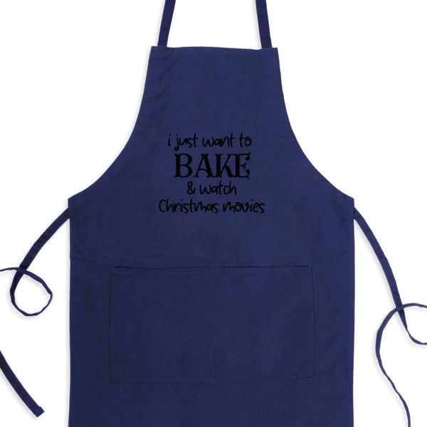I Just Want To Bake And Watch Christmas Movies Bib Apron with Pockets