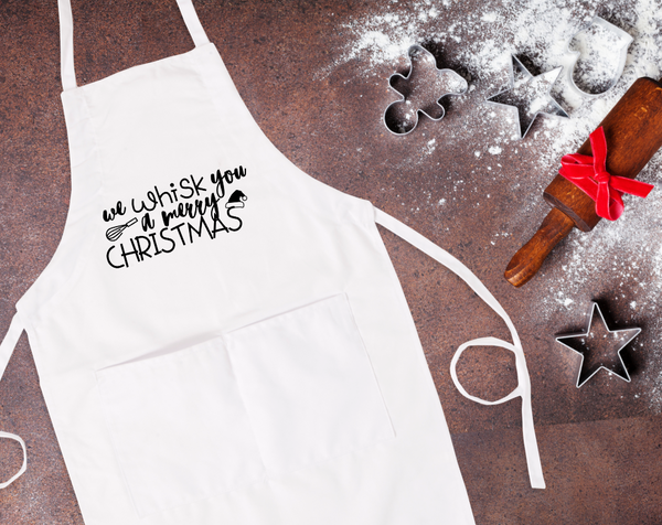 We Whisk You A Merry Christmas Bib Apron with Pockets
