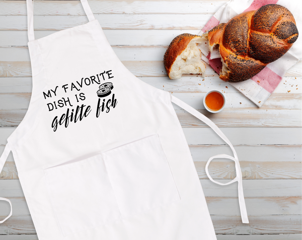My Favorite Dish Is Gefilte Fish Bib Apron with Pockets