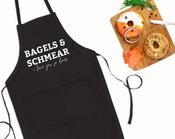 Bagels & Schmear I Love You So Dear Bib Apron with Pockets