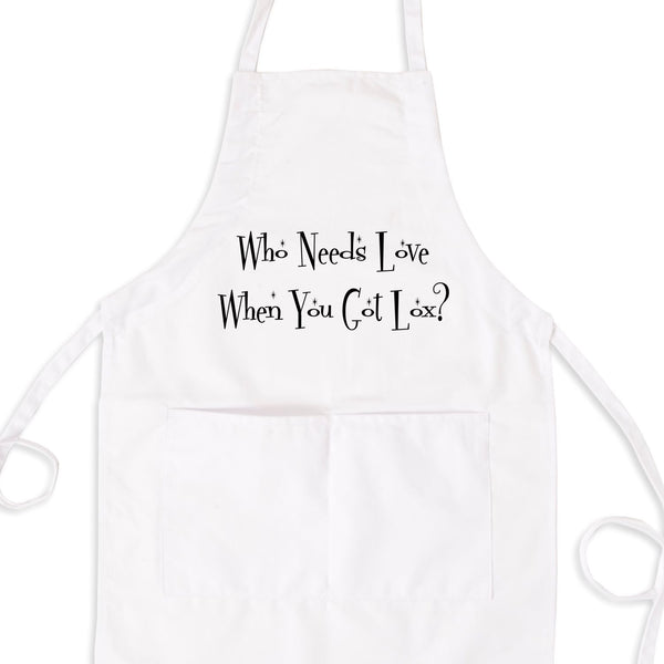 Who Needs Love When You've Got Lox? Bib Apron with Pockets
