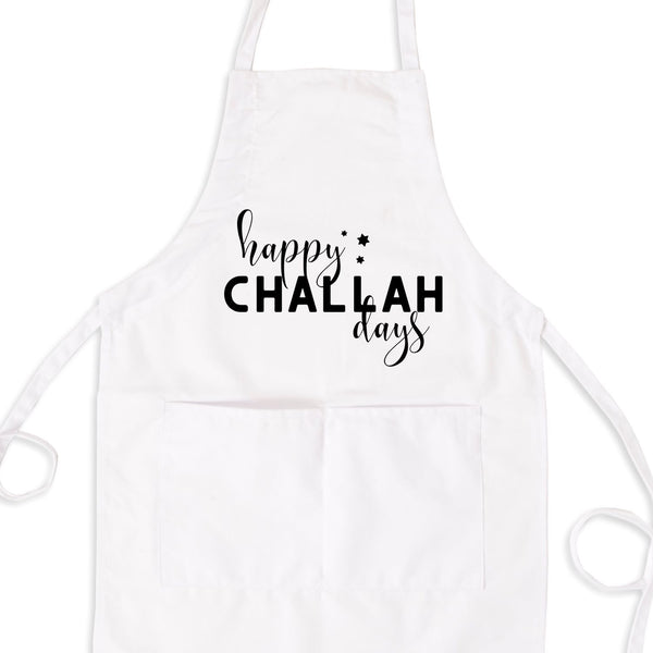 Happy Challah Days Bib Apron with Pockets