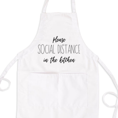 Please Social Distance In The Kitchen, Funny Quarantine Apron With Pockets