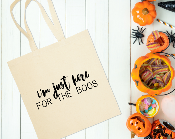 I'm Just Here For The Boos Canvas Tote