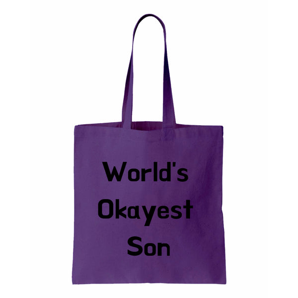 Worlds Okayest Son Canvas Tote