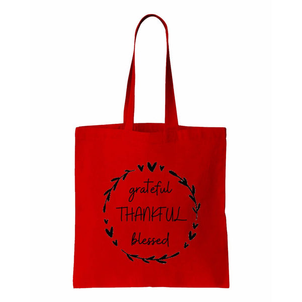 Grateful Thankful Blessed Canvas Tote