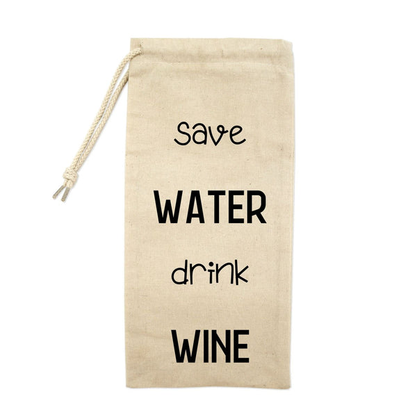 Save Water Drink Wine Drawstring Wine Tote