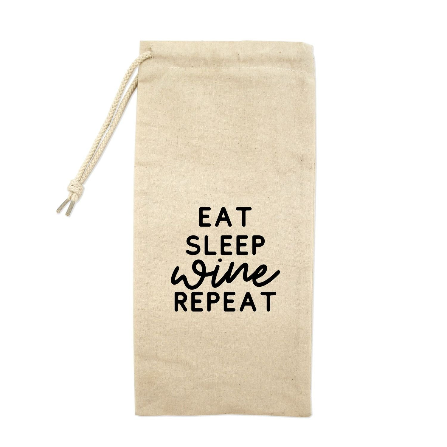 Eat Sleep Wine Repeat Drawstring Wine Tote