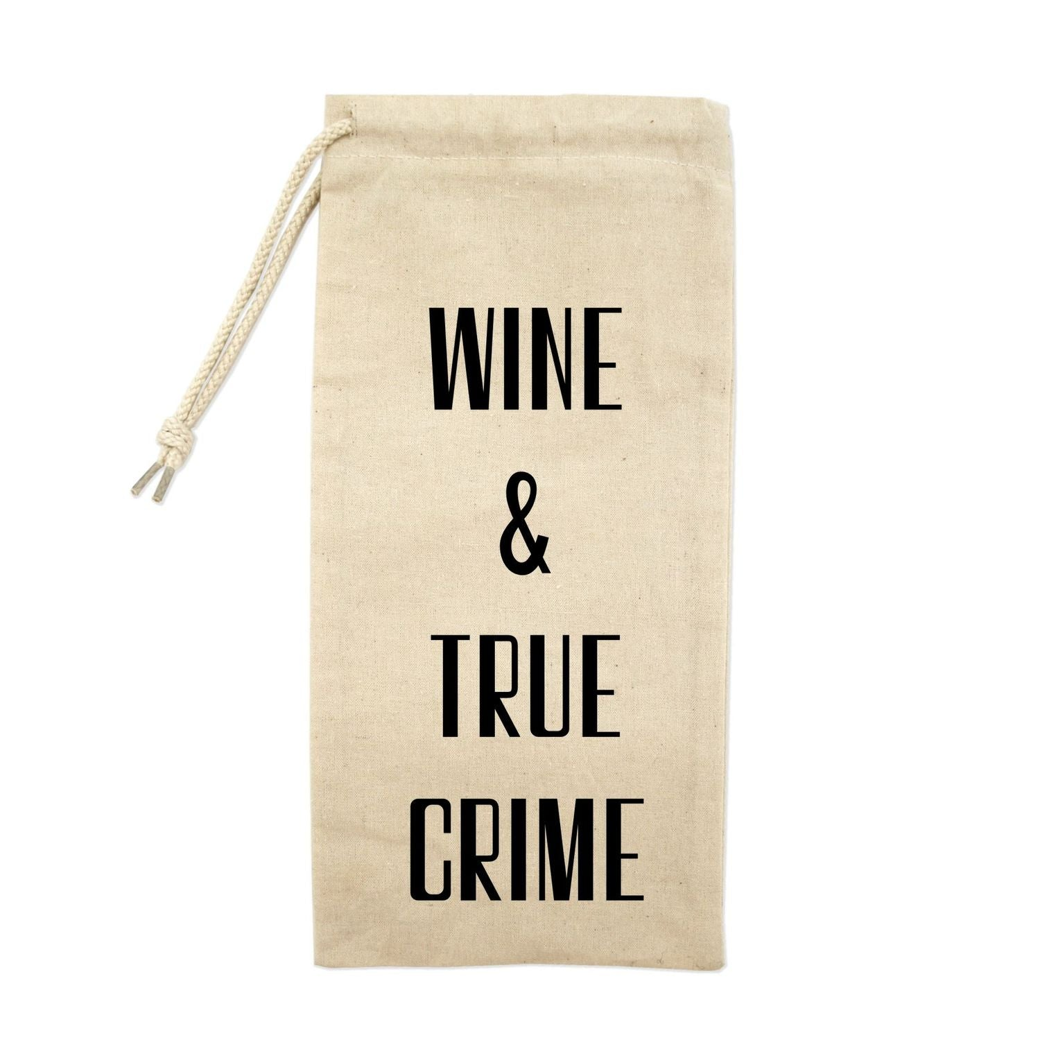 Wine & True Crime Drawstring Wine Tote