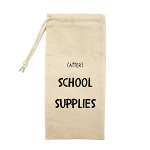 (After) School Supplies Drawstring Wine Tote