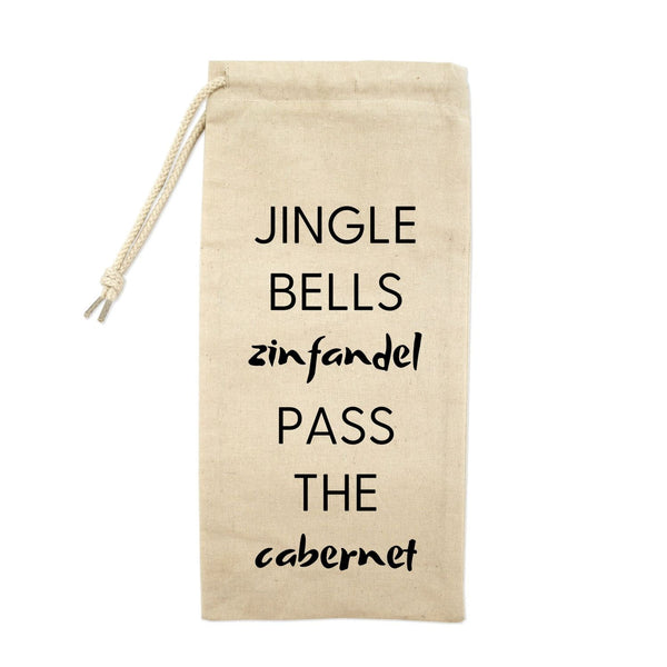 Jingle Bells Zinfandel Pass The Cabernet Drawstring Wine Tote