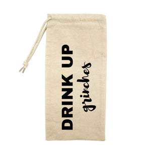 Drink Up Grinches Drawstring Wine Tote