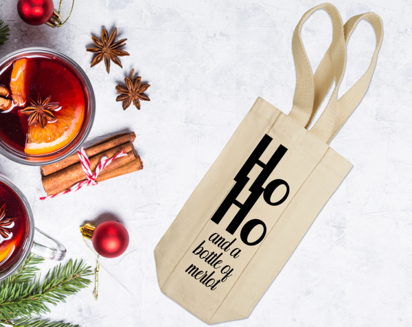 Ho Ho And A Bottle Of Merlot Wine Tote with Handles