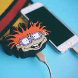 Chuckie USB Charger by WattzUp Power for Story + Nickelodeon.  This NickToons themed power bank is the perfect gift for any Rugrats cartoon fan.