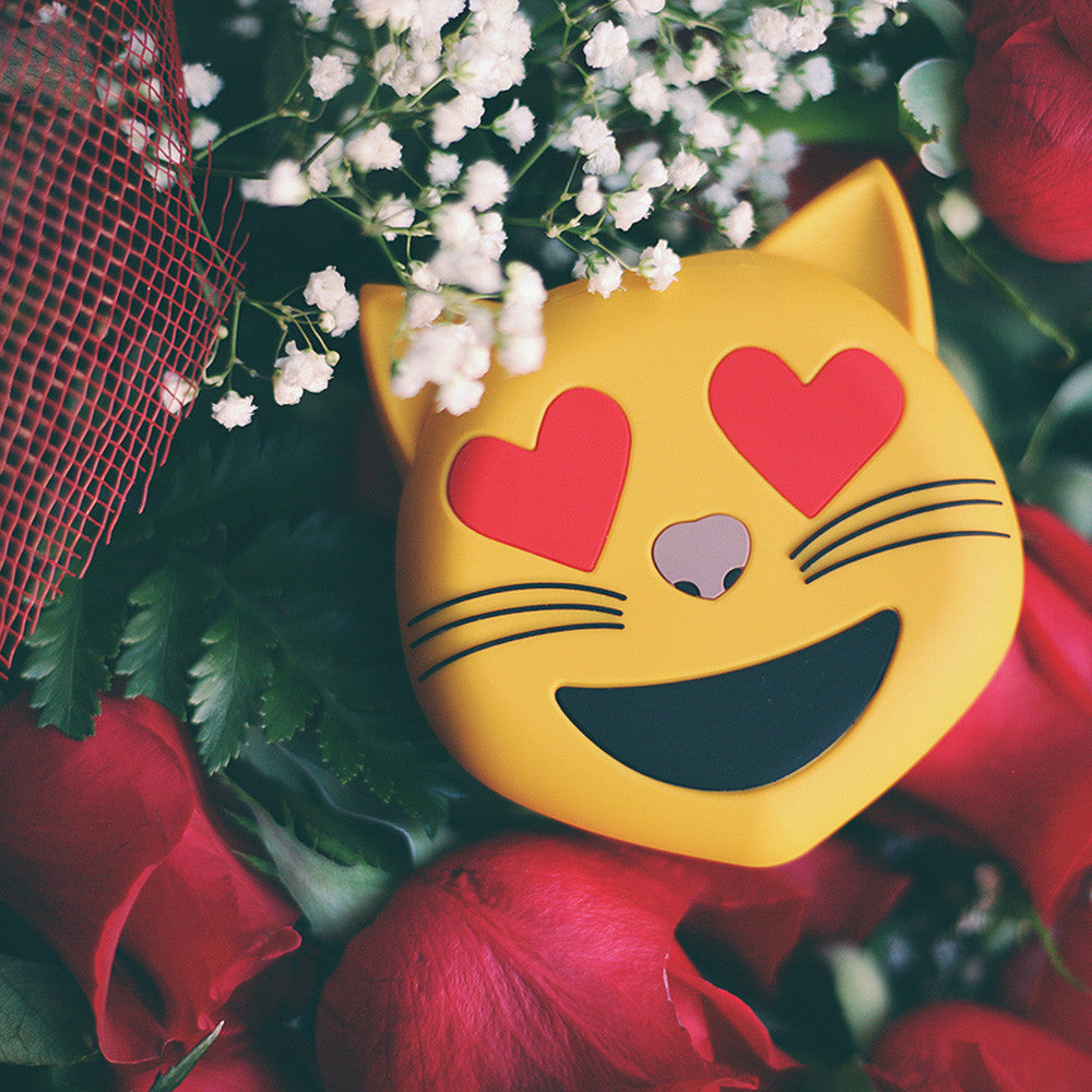 Smitten Kitten USB Portable iPhone Charger by WattzUp Power.  This Cat Heart Eyes Emoji Power Bank is the best if not perfect gift for any teen, cat lover, girlfriend, wife, ex-girlfriend, ex-wife LOL.