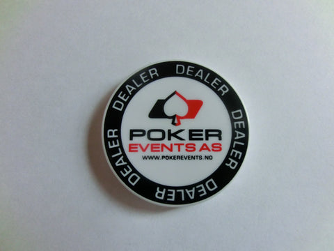Dealerknapp Plastikk<br>m/ Poker Events logo