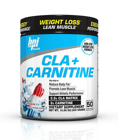 BPI Sports Cla + Carnitine Non-Stimulant Weight Loss Supplement Powder, Rainbow Ice, 300g