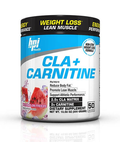 BPI Sports Cla + Carnitine Non-Stimulant Weight Loss Supplement Powder, Watermelon, 300g