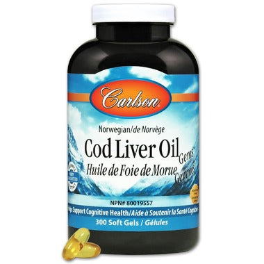 Carlson Cod Liver Oil Gems with Low Vitamin A Lemon Flavour - 300 softgels