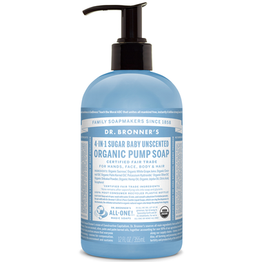 Dr. Bronner's 4-in-1 Sugar Baby Unscented Organic Pump Soap - 356ml