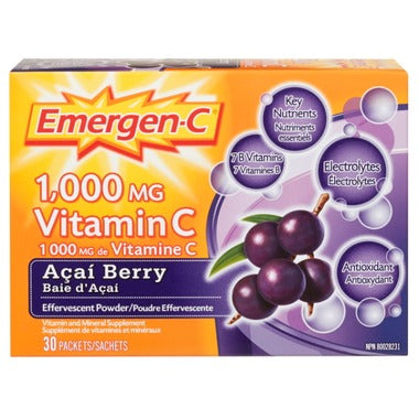 Emergen-C Super Energy Booster Instant Drink Mix - Acai Berry, 30 servings