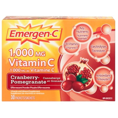 Emergen-C Super Energy Booster Instant Drink Mix Cranberry Pomegranate - 30 servings