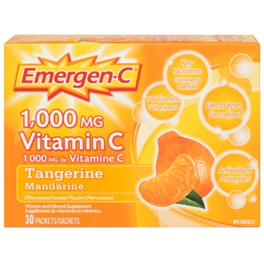 Emergen-C Super Energy Booster Instant Drink Mix - Tangerine flavour, 30 servings