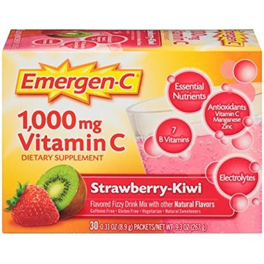 Emergen-C Super Energy Booster Instant Drink Mix - Strawberry Kiwi, 30 servings