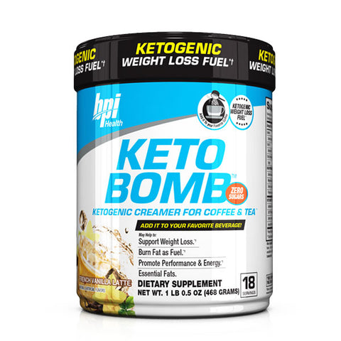 BPI Sports Keto Bomb Ketogenic Creamer for Coffee and Tea, French Vanilla Latte, 18 Count