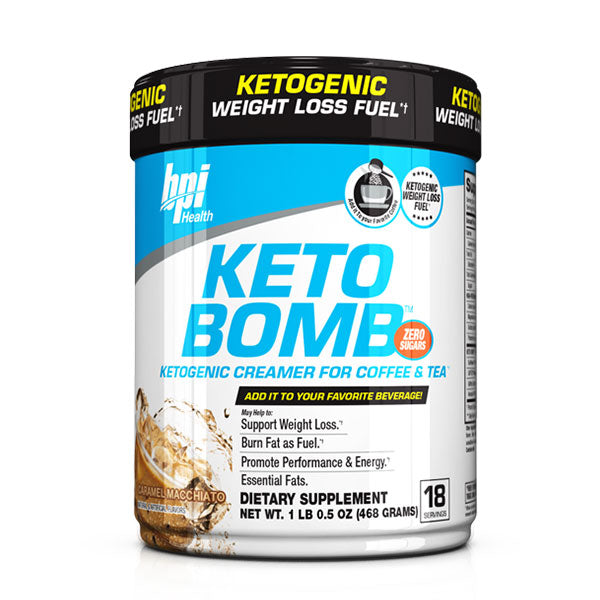 BPI Sports Keto Bomb Ketogenic Creamer for Coffee and Tea, Carmel Macchiato Latte, 18 Count, 468 g