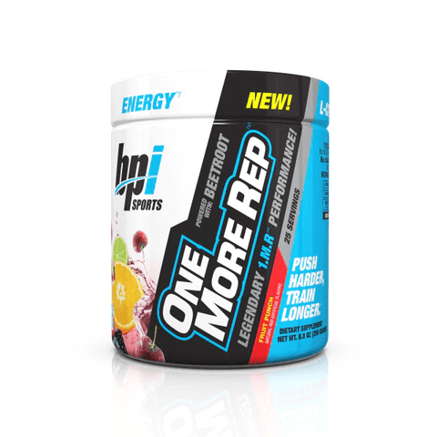 BPI Sports - One More Rep - 1.M.R. Formula Pre Workout With Beetroot - Strength, Endurance Muscle Pump Vasodilatador Pre-Workout (Fruit Punch, 25 Servings)