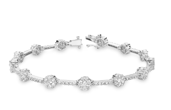 Diamond Bracelet in Flower Setting