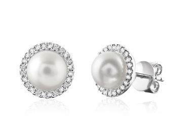 Diamond and Pearl Stud Earrings